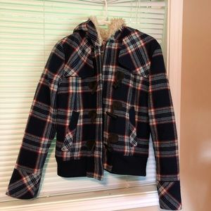 Juicy Couture Toggle Plaid Jacket